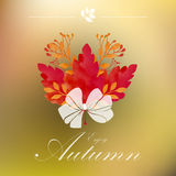 Autumnal frame with ribbon white Royalty Free Stock Photo