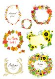 Autumnal frames and design elements Stock Photo