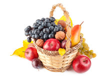 Autumnal fruit in basket. On white background Royalty Free Stock Images
