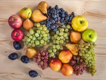 Autumnal fruit still life on rustic wooden table background Stock Photography