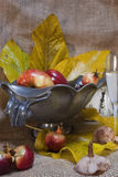 Autumnal fruits. A vintage basket with some autumnal fruits,a glass of wine and an old clock Stock Images