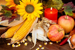 Autumnal fruits and vegetables. stock image