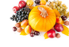 Autumnal fruits with yellow leaves Royalty Free Stock Image