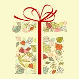 Autumnal gift. With colorful leaves for seasonal design royalty free illustration