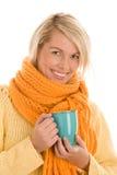 Autumnal girl with mug Royalty Free Stock Photography