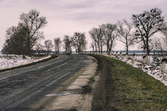 Autumnal gloomy landscape with remote road in central Ukraine Stock Photography