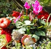 Autumnal grave decoration Royalty Free Stock Photos