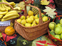 Autumnal harvest fruit in basket Royalty Free Stock Photo