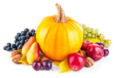 Autumnal harvest fruits and vegetables royalty free stock photos