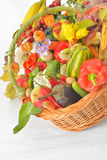 Autumnal harvest vegetable and fruit in basket Stock Images