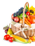 Autumnal harvest vegetables and fruits in basket royalty free stock images