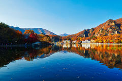 The autumnal hills and lake sunset Stock Photography