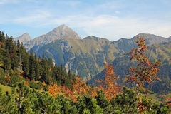 Autumnal karwendel valley and mountain range, austria Stock Photo