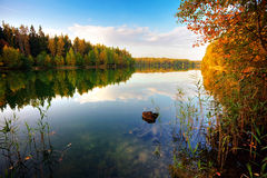 Autumnal lake near the forest Royalty Free Stock Photos