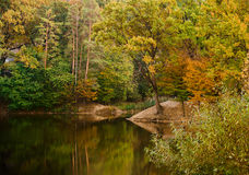 Autumnal lake and trees Stock Photo