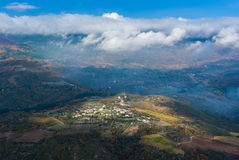 Autumnal landscape with aerial view on small Crimean villag Royalty Free Stock Photo