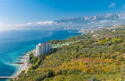 Autumnal landscape on a Black Sea shore near Yalta city Royalty Free Stock Photography