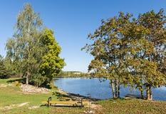 Autumnal landscape on Daugava river, Latvia Stock Images