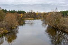 Landscape with Psel left tributary of the Dnipro River near Byshkin` village in Sumskaya oblast, Ukraine Stock Images