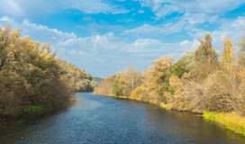 Autumnal landscape on a Psel river in Sumskaya oblast, Ukraine Royalty Free Stock Image