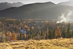 Autumnal landscape surrounding the city Zakopane Royalty Free Stock Image