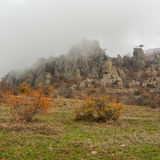 Autumnal landscape in Valley of Ghosts when fog falls from the mountain Royalty Free Stock Image