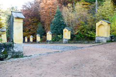 Autumnal landscape of the via crucis at Carona. On the italian part of Switzerland Royalty Free Stock Image