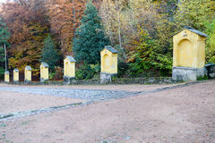 Autumnal landscape of the via crucis at Carona. On the italian part of Switzerland Royalty Free Stock Images