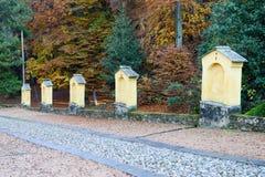 Autumnal landscape of the via crucis at Carona Stock Image