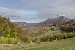 Autumnal landscape of the village hills. Autumnal landscape of the idylic hills in the village Holbav, Brasov County, Romania Royalty Free Stock Photo