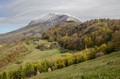 Autumnal landscape of the village hills. Autumnal landscape of the idylic hills in the village Holbav, Brasov County, Romania Royalty Free Stock Images