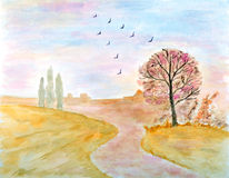 Autumnal Landscape Watercolor. Hand Drawn and Painted Stock Photos