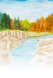 Autumnal landscape. Watercolor hand painted illustration background with autumnal landscape with trees and river Stock Images