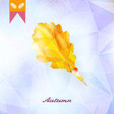 Autumnal leaf background made of triangles. Stock Image