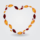 Autumnal leaf environmental heart. Vector illustration Stock Images