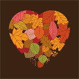 Autumnal leaves. In the form a heart Stock Image