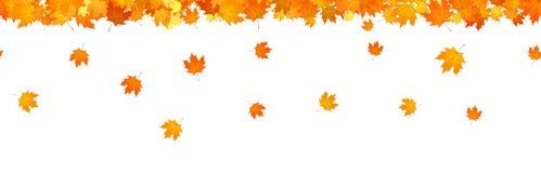 Autumnal leaves fall horizontal seamless banner for decor. Autumnal leaves fall horizontal seamless banner for decor stock illustration