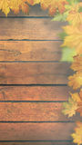 Autumnal leaves over old wooden desk Royalty Free Stock Images