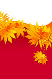 Autumnal leaves on red background. Atumnall yellow leaves on red background Royalty Free Stock Photo