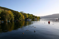 Autumnal Loch. Loch Ness in Scotland on a calm autumn morning Royalty Free Stock Photo