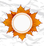 Autumnal maple leaves, crumpled paper texture Stock Photo