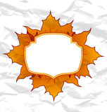 Autumnal maple leaves, crumpled paper texture Stock Photography