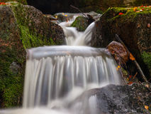 Autumnal mood in the forest with small creek waterfalls. Long exposure shot with blurred silky water stream stock image