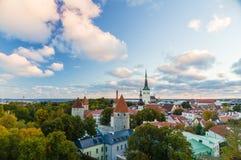 Autumnal morning view of old town Tallinn, Estonia Stock Images