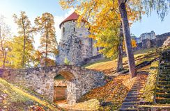 Autumnal motif in old park of Cesis city Royalty Free Stock Images
