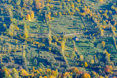 Autumnal mountain panoramic view over houses and nature. Beautif Royalty Free Stock Photo