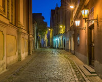 Autumnal night in old Riga city Royalty Free Stock Photo