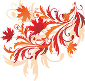Autumnal ornament. Autumn background with maple leaves royalty free illustration