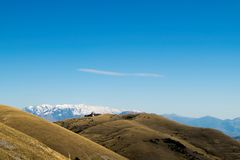 Autumnal panorama with snow-clad mountains Royalty Free Stock Image