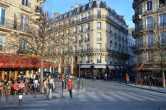 Autumnal Paris. Street scene with cafes and brasseries in atumnal Paris, France Royalty Free Stock Photo